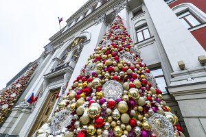 Декор фасада мэрии к новому году