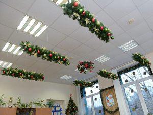 Декор потолка в школе на новый год