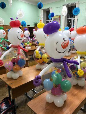Снеговики из шаров для учеников