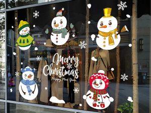 Новогодние наклейки на витрины